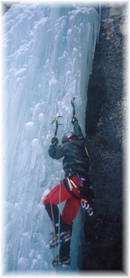 Leading the second pitch of Icy BC in Lillooet, BC. Photo by Dave Burdick.