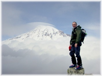 The summit of Pinnacle Peak with Mt. Rainier in the background. Photo by Dave Burdick.
