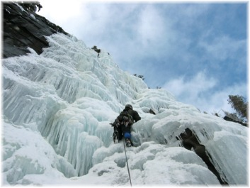 Leading the top pitch of Drury Falls in January, 2003. Photo by Dave Burdick.