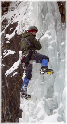 Leading ice in Hyalite Canyon, February 2003. Photo by Eric.