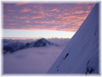Sunrise and Snoqualmie Mountain from the North Face of Chair Peak